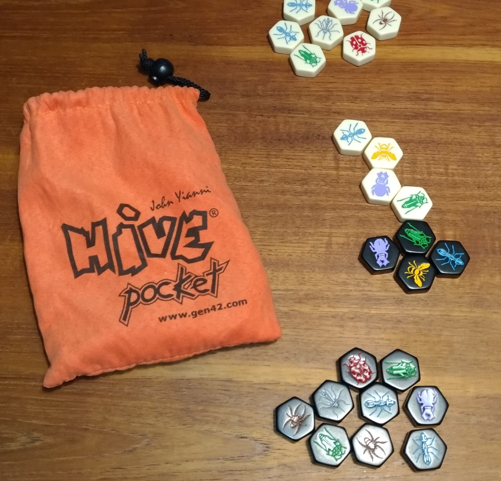 Hive Pocket Travel game setup on a table