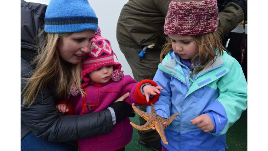 Two young girls holding a fresh starfish